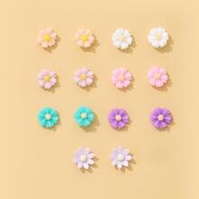 7pairs Flower Decor Stud Earrings