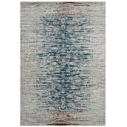 Hesper Collection R-1110A-58 Distressed Contemporary Floral Lattice 5x8 Area Rug in Teal  Beige and Brown
