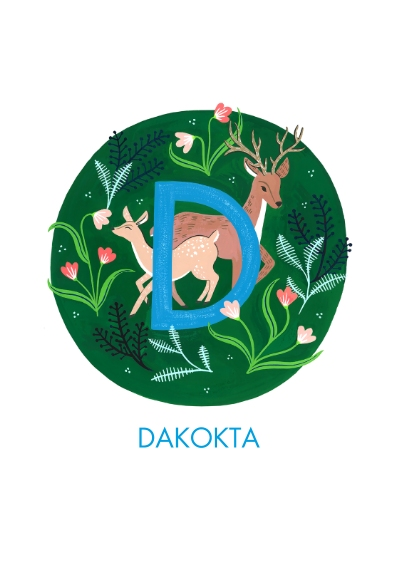 Baby + Kids Framed Canvas Print, Oak, 20x30, Home Décor -Animal Monogram D