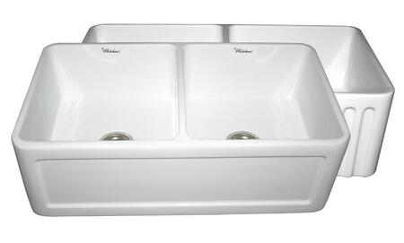 WHFLCON3318-WHITE Reversible series double bowl fireclay sink with Concave front apron one side and fluted front apron on