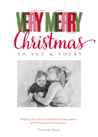 Christmas Photo Cards 5x7 Folded Cards, Standard Cardstock 85lb, Card & Stationery -Vibrant Christmas