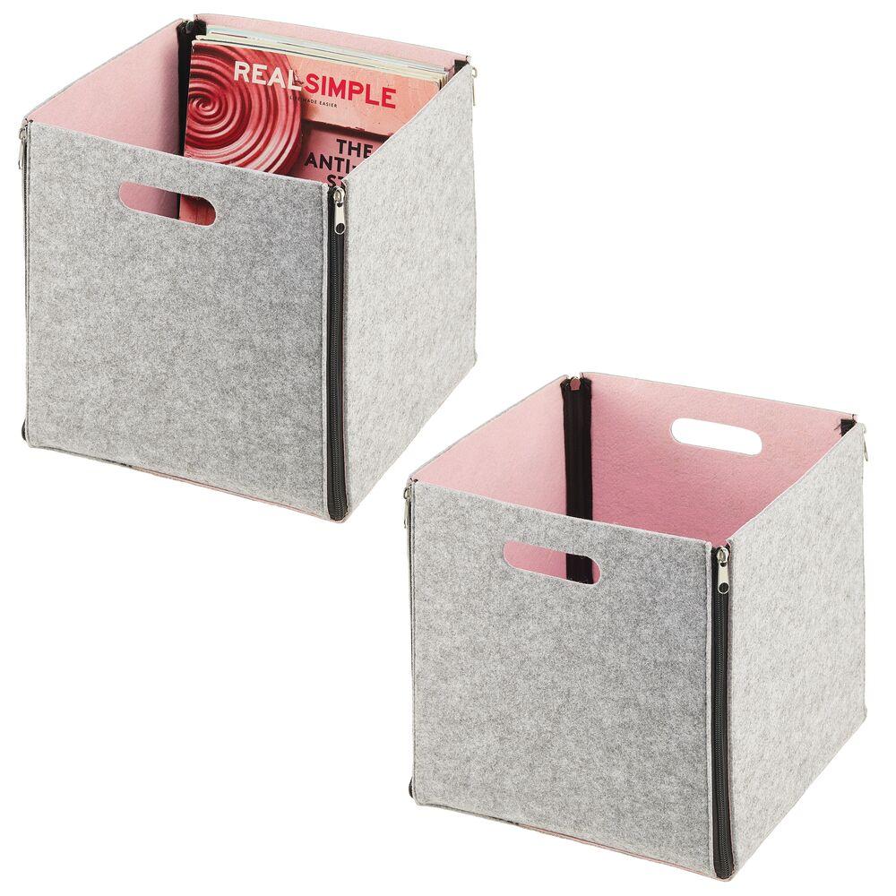 Felt Cube Zipper Bin with Handles - Pack of in Light Gray/Light Pink, by mDesign