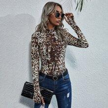 Body mit Stehkragen und Leopard Muster & Daumenloch