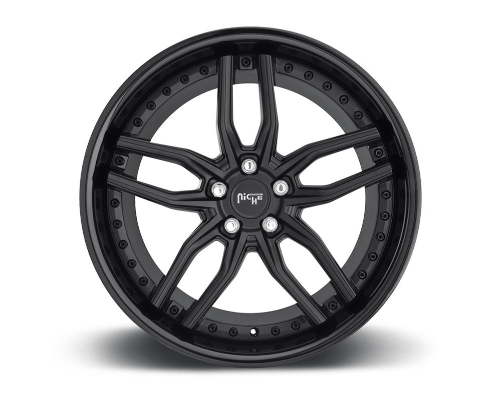 Niche M194 Methos Satin Black w/ Gloss Black Lip 1-Piece Cast Wheel 20x9 5x112 27mm