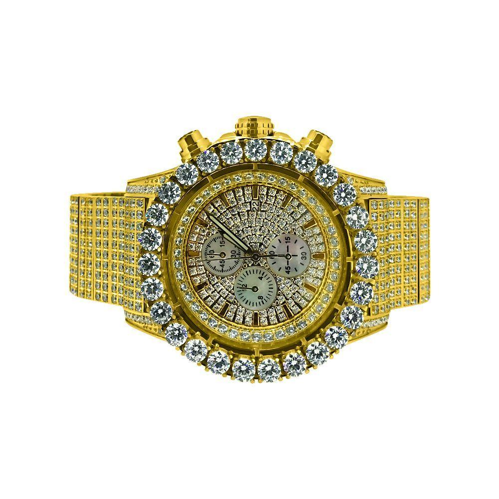 Monster CZ Iced Out Watch Gold Stainless Steel