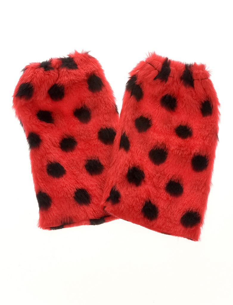 Kostuemzubehor Beinstulpen Marienkaefer Pluesch Erwachsene Farbe: schwarz/rot
