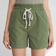 Shorts de cintura con volante con cordon