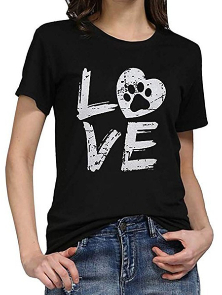 Yoins Casual Letter Crew Neck Short Sleeves Tee