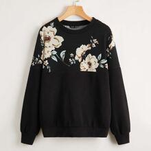 Floral Print Drop Shoulder Pullover