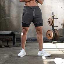 Shorts deportivos de cintura con cordon con bolsillo de movil