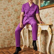 Einfarbiges Hemd mit eingekerbtem Kragen und Taschen Klappe & Hose Set
