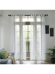 Solid White Delicate Embroidered Linen Sheer Curtains Semi Transparent Voile Grommet Drapes for Living Room 2 Panels 84W 84L Handy Feeling Eco-friendl