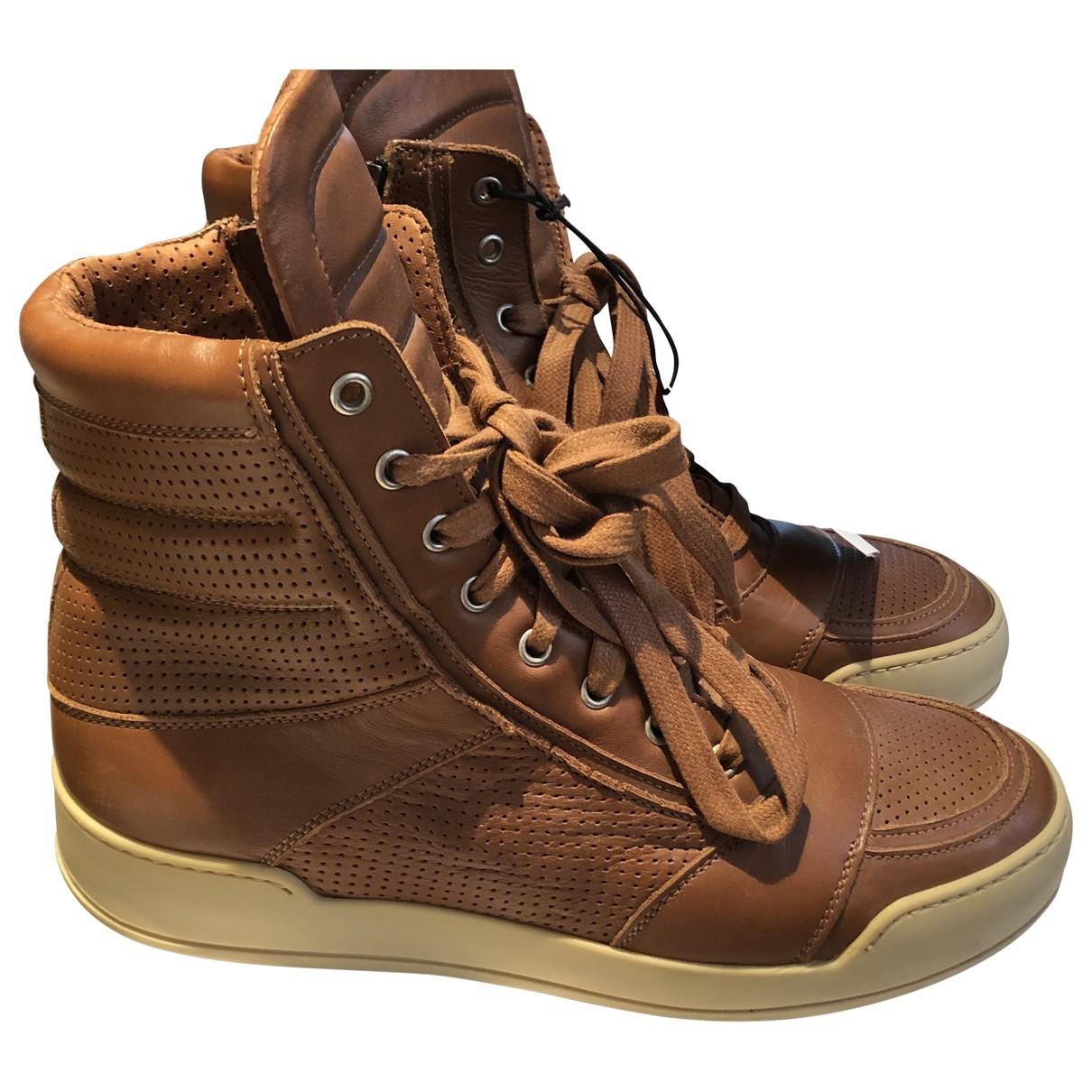 Balmain - Baskets   pour homme en cuir - marron