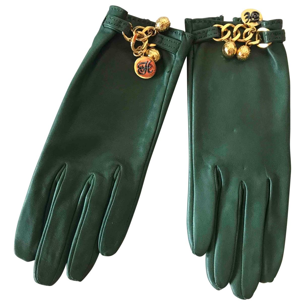 Hermes - Gants   pour femme en cuir - vert