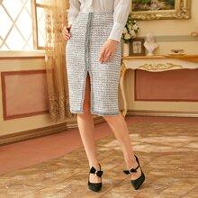 Grid Print Raw Trim Tweed Skirt