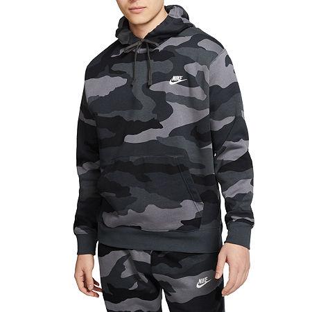 Nike Camo Mens Long Sleeve Hoodie, Small , Gray
