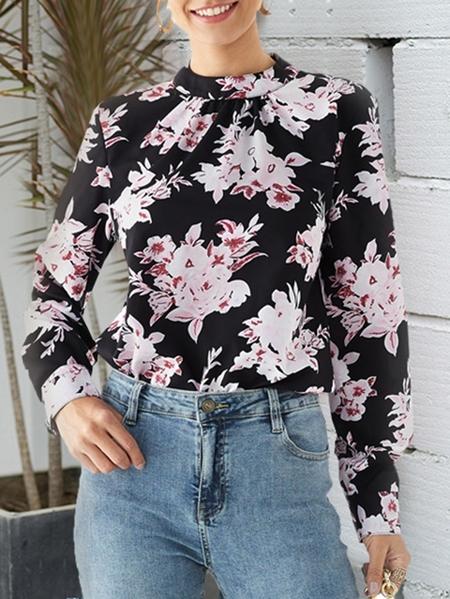 YOINS Black Random Floral Print Stand Collar Blouse
