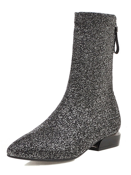 Milanoo Women Ankle Boots Pointed Toe Glitter Flat Booties