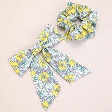 2pcs Ditsy Flower Pattern Hair Clip & Scrunchie