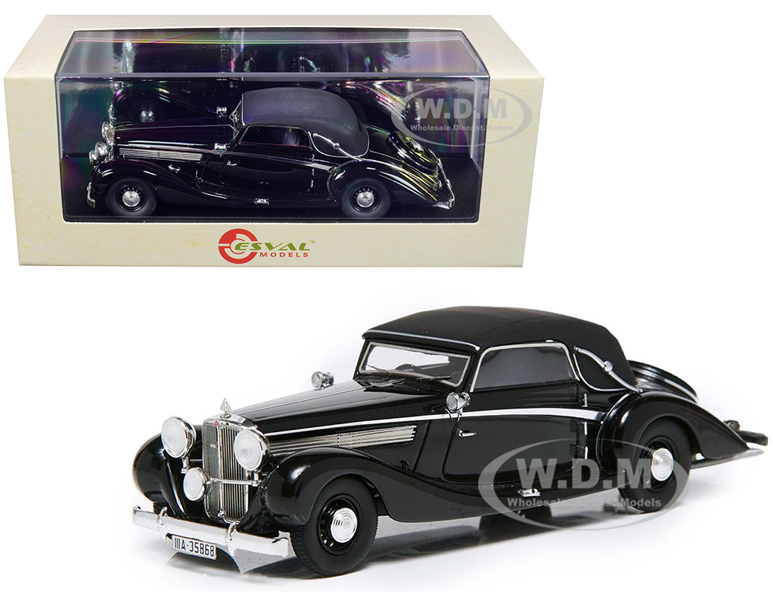 1938 Maybach SW38 Cabriolet A by Spohn (Top Up) Black Limited Edition to 250 pieces Worldwide 1/43 Model Car by Esval Models