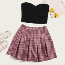 Solid Crop Tube Top & Plaid Pleated Skirt Set