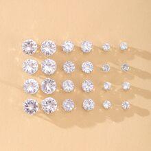 12 pares pendientes de tachuela de niñas con diamante de imitacion