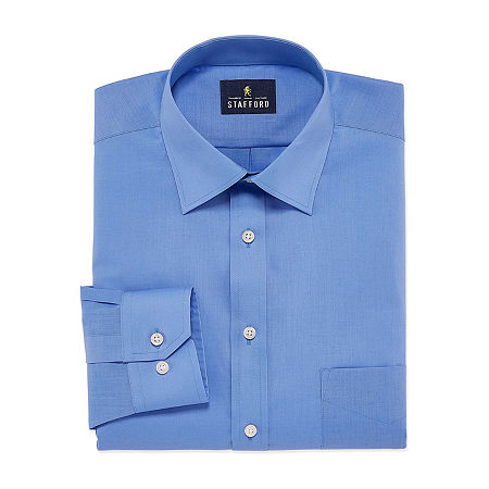 Stafford Mens Travel Easy-Care Broadcloth Stretch Fitted Dress Shirt, 16.5 34-35, Blue