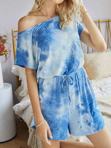 Yoins Tie Dye Side Pockets Short sleeves Playsuits