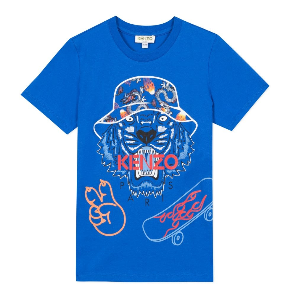 Kenzo Kids Tiger Graphic T-Shirt Blue Colour: BLUE, Size: 10 YEARS