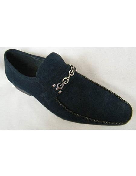Zota Mens Suede Leather Navy Chain Link Strap Slip On Style Shoes