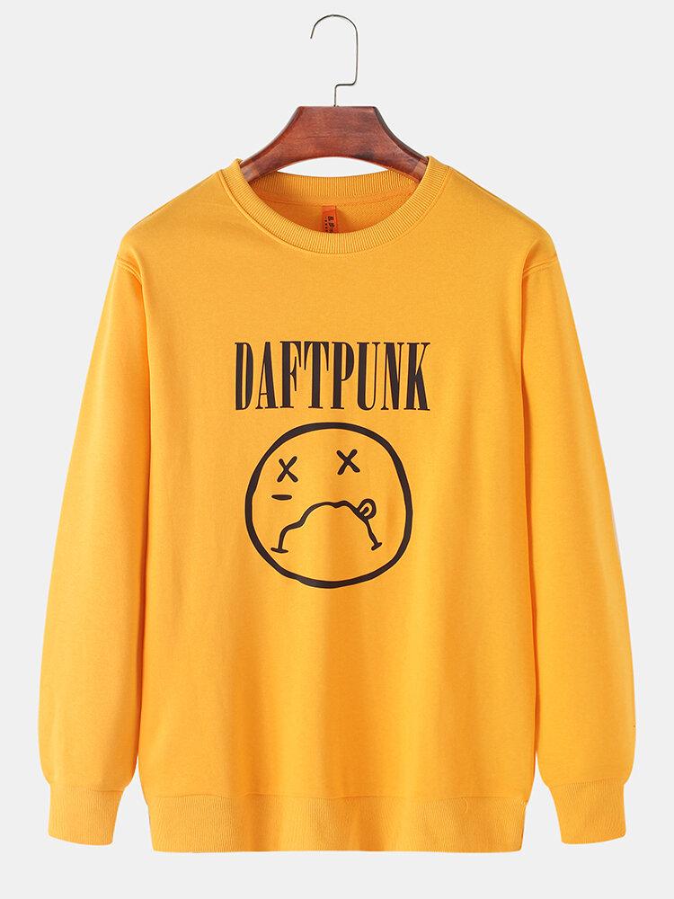 Mens Funny Emojis Letter Print Cotton Casual Crew Neck Pullover Sweatshirts