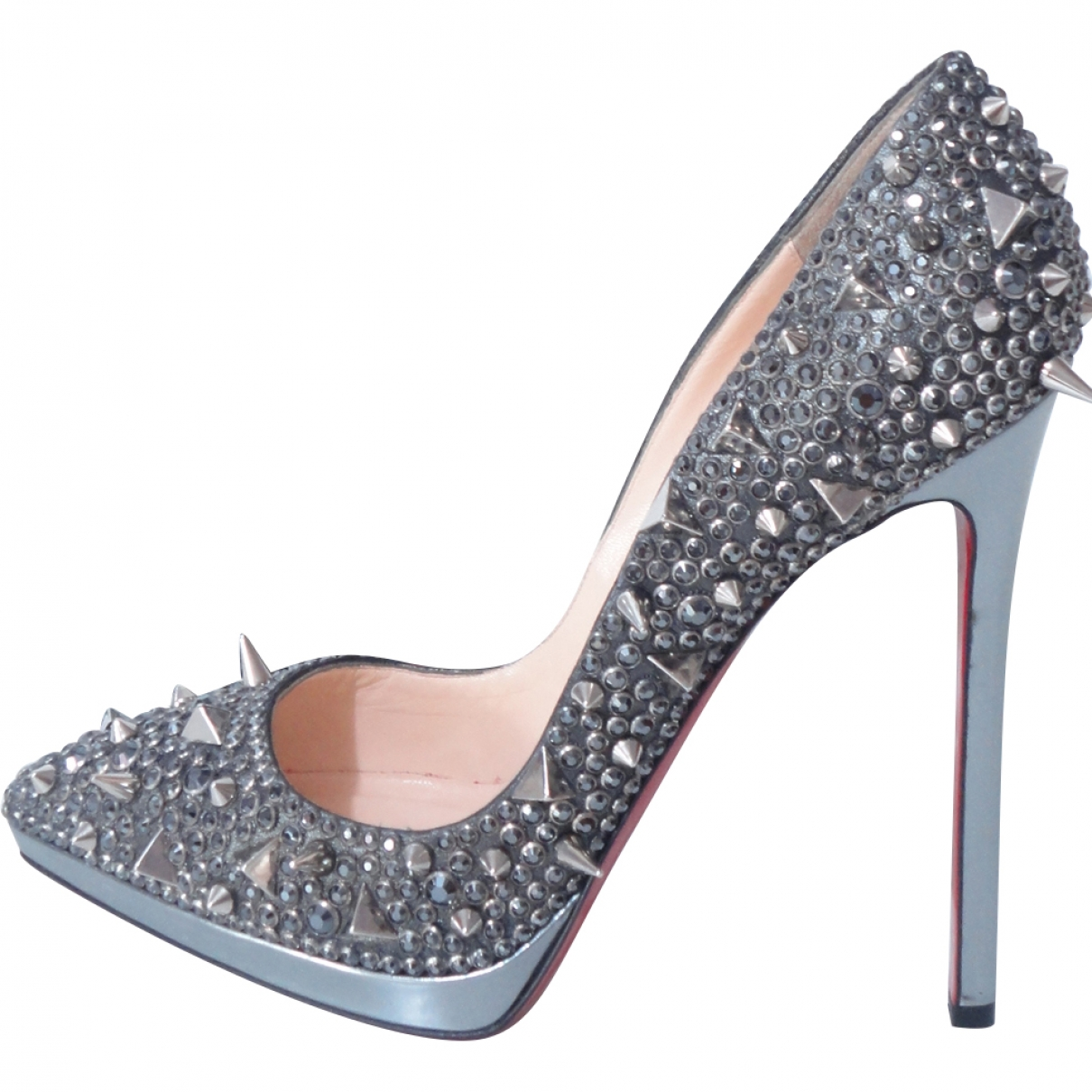 Christian Louboutin Pigalle Plato Grey Glitter Heels for Women 39 EU