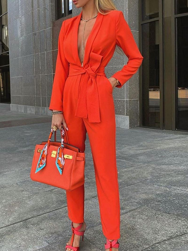 Ericdress Full Length Plain Office Lady Straight Slim Jumpsuit
