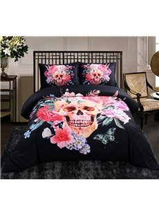Sugar Skull with Blooming Flowers Printed Cotton 4-Piece Black Halloween 3D Bedding Sets/Duvet Covers