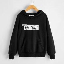 Pullover mit Taschen vorn und Figur Grafik