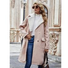 Contrast Teddy Lapel Collar Double Breasted Overcoat