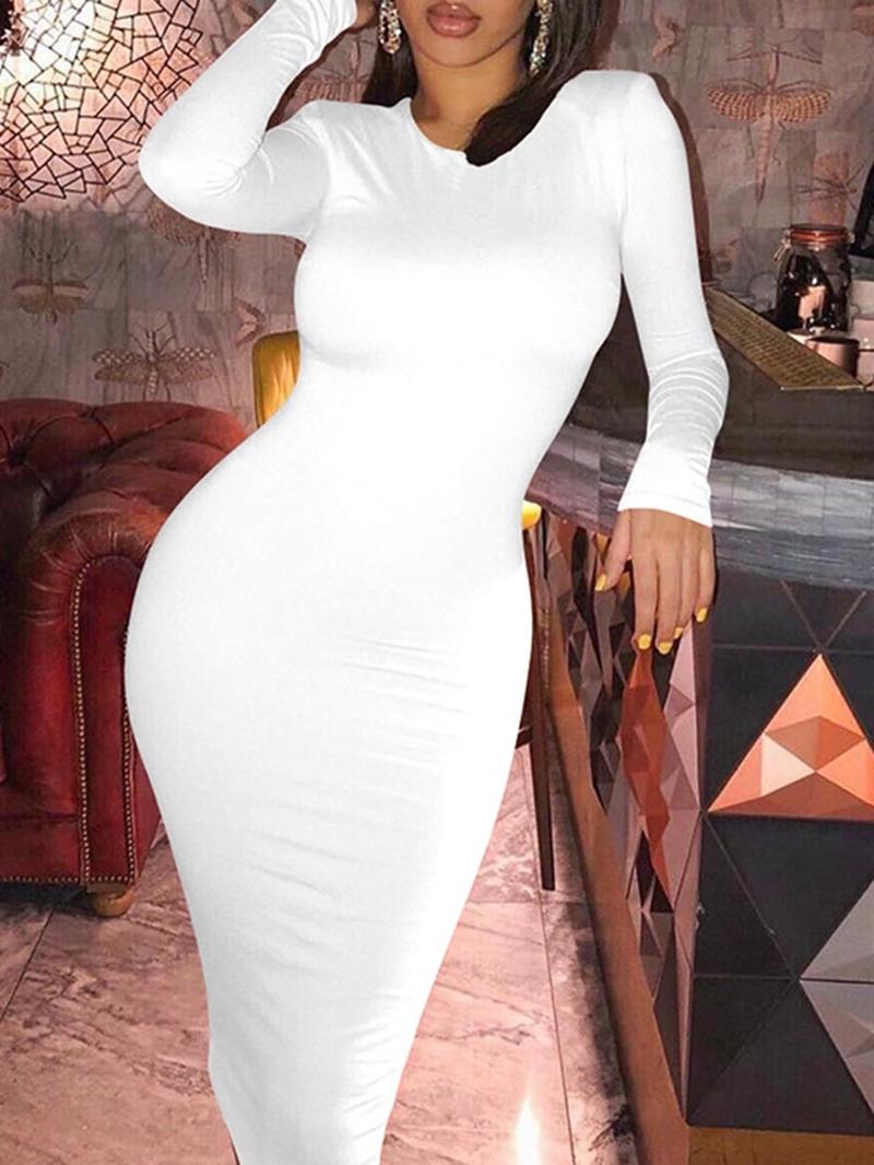 Ericdress Long Sleeve Mid-Calf Round Neck Winter Mid Waist Dress