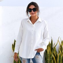 Button Front Curved Hem Blouse