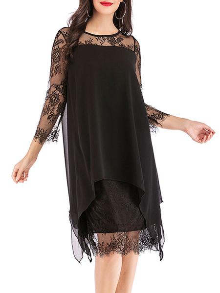 Milanoo Shift Dress Burgundy Jewel Neck Lace Chiffon Fabulous Irregular 3/4 length Sleeves Fall Dress