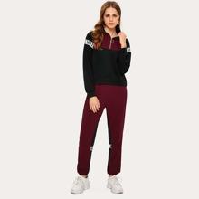 Letter Tape Color-block Sweatshirt & Sweatpants Set