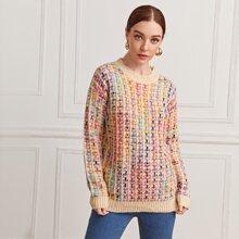 Pullover mit sehr tief angesetzter Schulterpartie und Karo Muster