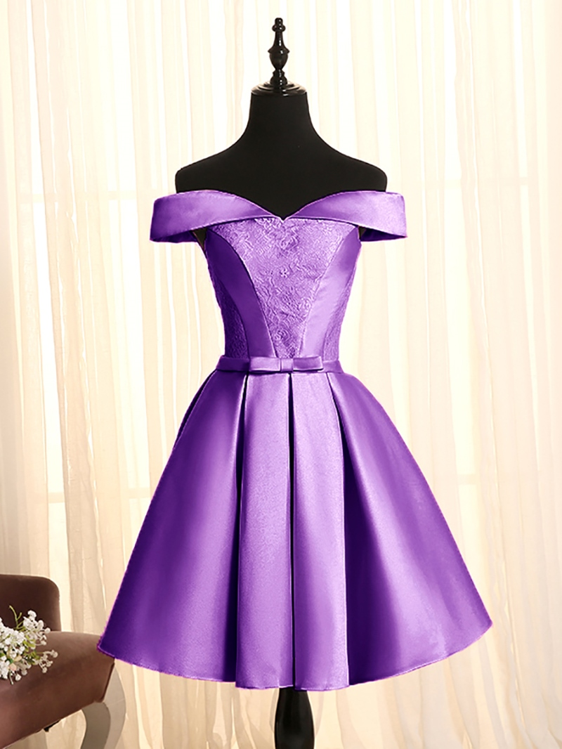 Ericdress Short A-Line Off-the-Shoulder Lace Homecoming Dress With Bowknot