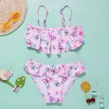 Bikini Badeanzug mit Schmetterling Muster und Raffung