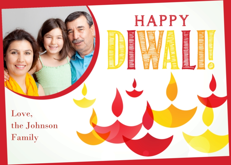 Diwali Cards 5x7 Folded Cards, Standard Cardstock 85lb, Card & Stationery -Happy Diwali Candles
