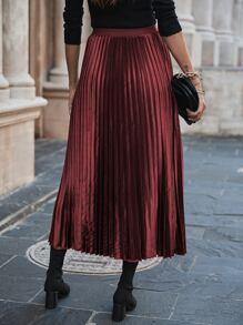 Satin High Waist Pleated Skirt