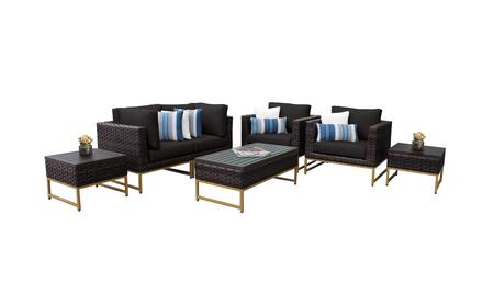 Barcelona BARCELONA-07d-GLD-BLACK 7-Piece Patio Set 07d with 2 Corner Chairs  2 Club Chairs  2 End Tables and 1 Coffee Table - Beige and Black Covers