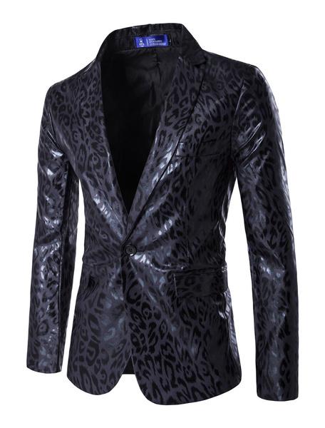 Milanoo Blazer For Men Leopard Print Notch Collar Slim Fit Casual Suit Jacket