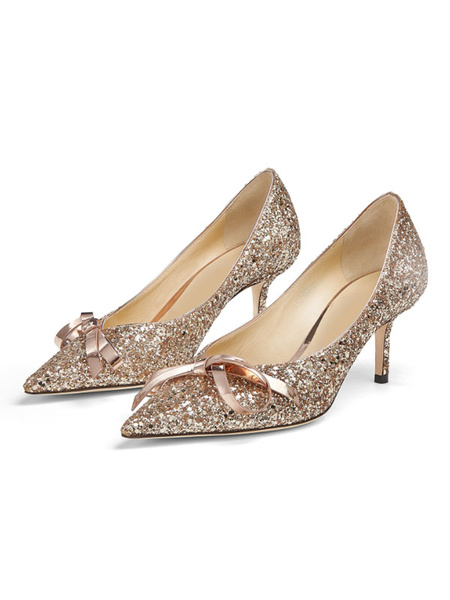 Milanoo Women High Heel Party Shoes Light Gold Pointed Toe Bows Sequined Evening Shoes