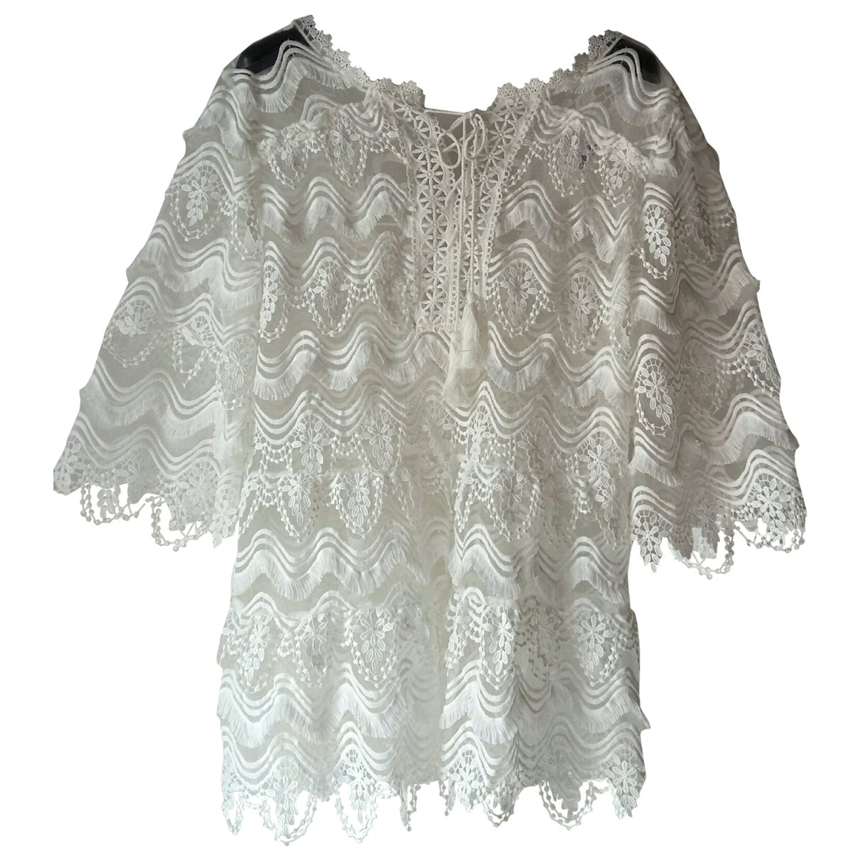 Non Signé / Unsigned \N White Lace  top for Women One Size International