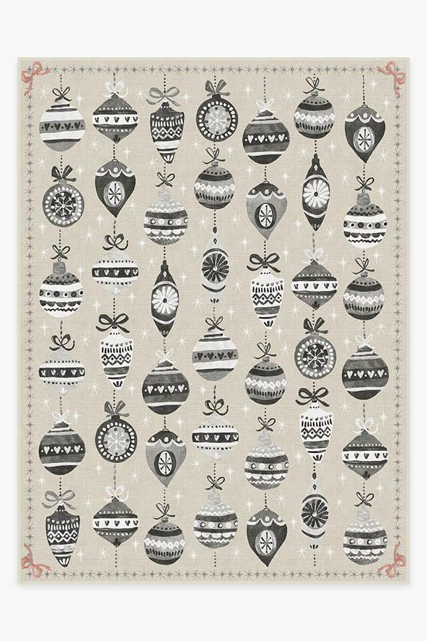 Washable Rug Cover | Festive Garland Warm Grey Rug | Stain-Resistant | Ruggable | 9'x12'